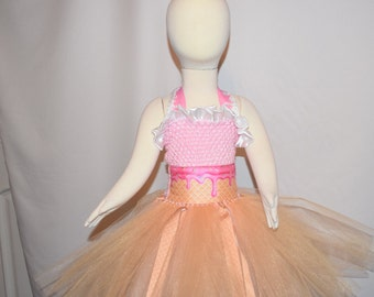 6 month girl child toddler Crochet tutu Dress birthday dress  ice cream costume