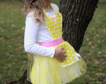 belle Beauty and the beast inspired apron tutu dress tea party Birthday 3-8 yrs girl Christmas gift pretend princess
