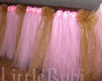 Tulle Tutu Table cloth decor Skirt Wedding Baby Shower receptions High chair 1st Birthday party supplies You choose color 6 layers of tulle