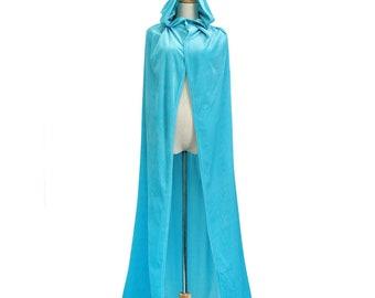 Long Medieval cape Velvet hooded Cloak Fairy God mother Fantasy frozen Princess Wizard renaissance costume adult child