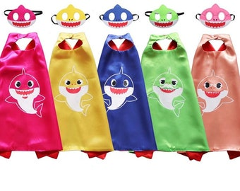 Baby shark inspired mask felt and cape birthday party pretend play dress up  costume super hero