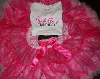 Birthday  girl personalized top t-shirt pettiskirt  tutu size 6 - 8 yrs