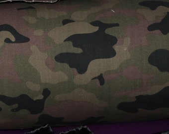 camouflage  denim fabric  by the yard medium heavy weight