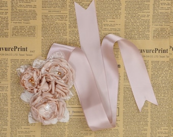 women Girl child baby satin flowers wedding dress flower girl comunion birthday baptism sash belt and headband beige