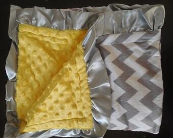 "New Baby Toddler nursery receiving blanket girl boy shower gift 40"" satin ruffle edge minky chevron gray Yellow"