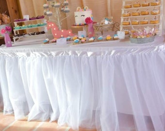Tulle Tutu Table cloth decor Skirt Wedding Baby Shower High chair first Birthday party supplies You choose color