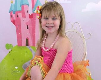 "Girls baby child unlined lined Crochet tutu top tube 1-12 years DIY flower girl wedding dress birthday costume hot pink  6"" 7"" 8"" 10"" 12"""