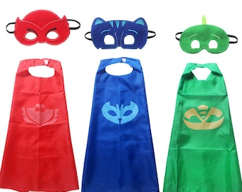 Super hero child cape with felt mask birthday party pretend play dress up halloween costume inspired on pj mask
