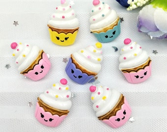 "4 pcs lot mini 1"" cup cake ice cream Charms 3D Resin Pendants Earring Fashion Jewelry diy Crafts charms slime cell phone"