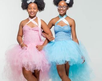 girl tutu dress wedding flower girl Dance Ballet Costume crochet high and low tulle white black gray pink Birthday teen tween 2-14 yrs