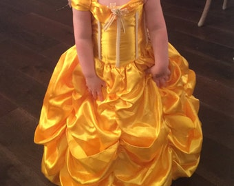 New Belle Inspired beauty and the beast Halloween Costume Birthday girl toddler princess dress size  2