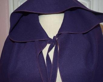 Long Medieval cape heavy warm hooded Cloak Fairy Fantasy renaissance Princess Wizard costume dark purple