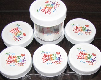 10 pack slime jars containers party favors gifts Happy Birthday stickers (slime is not included) Plastic Round Wide-Mouth Jars 2 oz