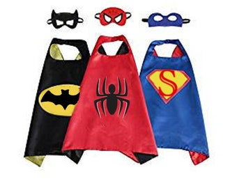 Super hero man child cape with felt mask birthday party pretend play dress up halloween costume bat spider