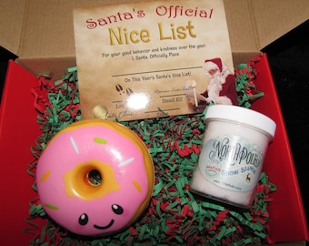 FREE SHIPPING  Mystery slime & squishy  with nice list card from Santa Holiday winter Christmas