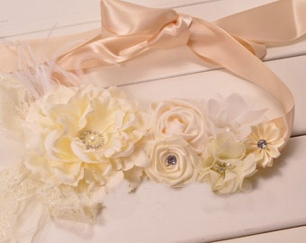 women Girl child baby maternity satin flowers wedding dress flower girl comunion birthday baptism sash belt  beige ivory white
