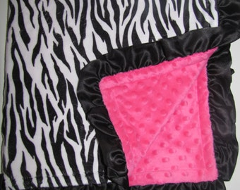 "New Baby nursery receiving blanket girl boy shower gift You choose 20 prints 30"" satin ruffle edge faux fur hot pink zebra"