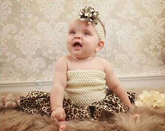 "new Girls girl baby child 7 Inch lined Crochet tutu top tube 1-3 years DIY flower girl wedding dress birthday summer 7"" ivory"