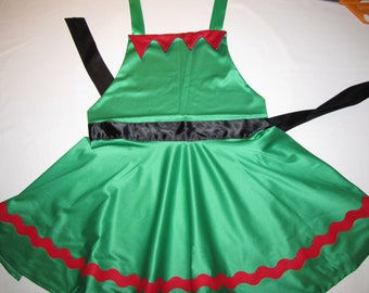 elf Holiday Christmas women mom teen circular apron costume dress one size