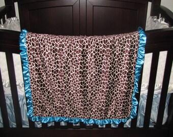 "New Baby nursery receiving blanket girl boy shower gift  30"" satin ruffle edge animal print turquoise minky dot giraffe"