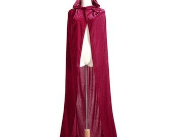 Long Little Red ridding hood Medieval cape Velvet hooded Cloak Fairy Fantasy Princess Wizard renaissance costume adult child BURGUNDAY