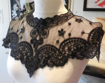 embroidery flower lace collar dress gown Fabric Sewing Applique DIY patches ribbon trim neckline ivory black sheer top