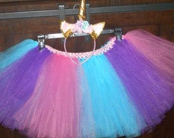 child birthday party Halloween unicorn costume horn tutu and headband girl child wedding flower girl teen toddler girl adult