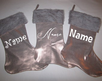 personalized stockings  Christmas Farm house home decor fur metallic 17""