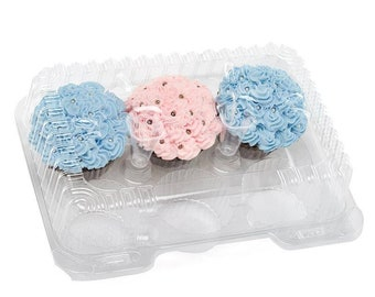 4 pcs 6 Clear Cupcake  Containers bakery