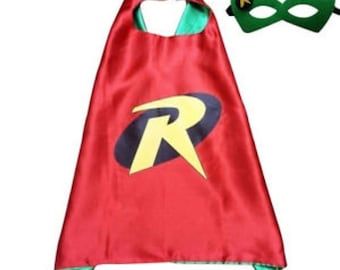 Super hero child cape with felt mask birthday party pretend play dress up halloween costume inspired on robin