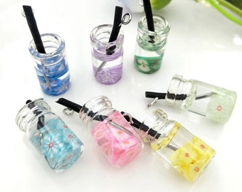 10 pcs lot mini Fruit Juice Bottle Design Charms 3D Resin lemonade Drink Bottle Pendants Earring Fashion Jewelry diy Crafts charms slime