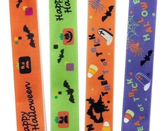 "7/8"" X 25YD Narrow Halloween Patterns Satin Ribbon"