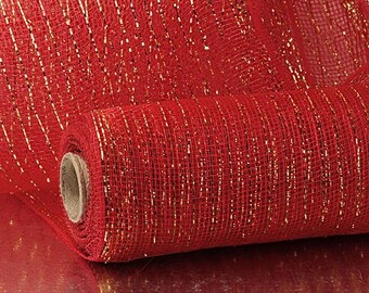 "red Gold Thread Metallic 21"" Deco Mesh 10 yards floral decor wreath"