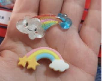 "5 pcs lot mini glitter ice cream candy lemonade rainbow Charms 3D Resin Pendants Earring Fashion Jewelry diy Crafts slime cell phone 1.5"""