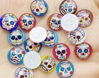 40 pc Mini Skull mixed random Embellishment Centers  cabochon, bulk, charms  assorted colors, flatback, scrapbook