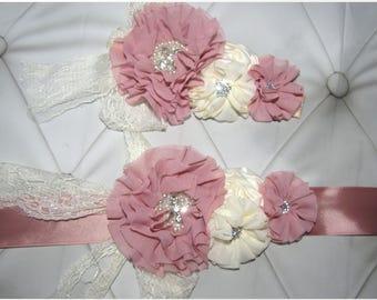 women child baby Lace satin Rhinestone flowers wedding dress flower girl comunion birthday baptism sash belt and headband rose ivory 2pc