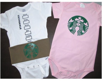 baby Halloween costume coffee strawberry starbucks inspired boy girl twins unisex baby shower 1st birthday bodysuit