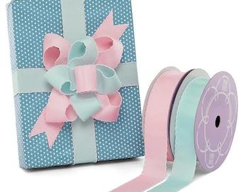 25 yards 1 5/8 ''  Baby Scalloped Edge Grosgrain Ribbon pink light aqua baby shower decor party bow