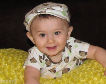 new baby 9-12 month one piece bodysuit top and hat monkeys FREE shipping
