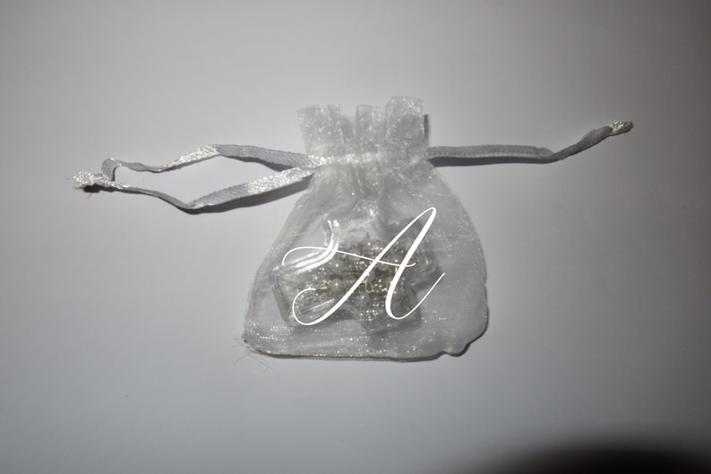 10 personalized rosary in a clear cross box party favors with initial letter on bags baby shower baptism Memorial First Communion Wedding