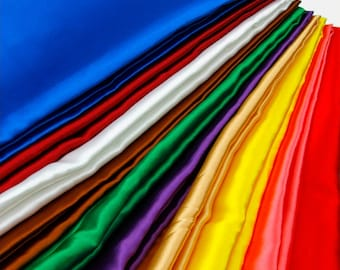 """Satin fabric 55"""" wide bridal wedding crafts home decor costume sew bolt gold yellow black red silver white pink"""