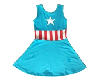 captain america super hero Halloween costume inspired  dress 2 4 6 8 yrs  party pretend dress up