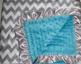 "New Baby nursery receiving blanket girl boy shower gift You choose 20 prints 30"" satin ruffle edge silver gray lime chevron"