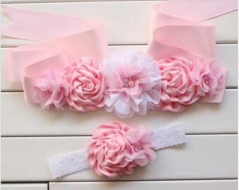 Girl child baby satin Rhinestone flowers wedding dress flower girl comunion birthday baptism sash belt and headband pink lace 2pc