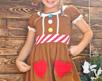 Holiday Christmas girl ginger bread cookie Elf party dress ugly sweater costume toddler outfit child 2 - 16 years
