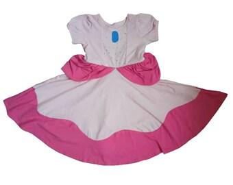 child princess Mario Brothers Halloween costume inspired peach daisy dress 2 - 8 yrs