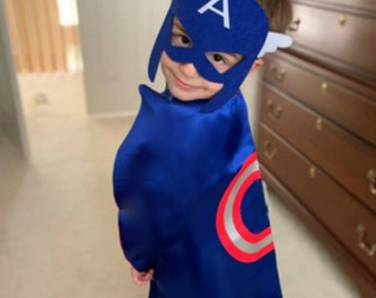 Super hero child cape with felt mask birthday party pretend play dress up halloween costume