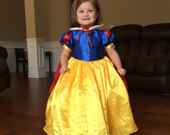 Snow white Inspired Costume Birthday girl toddler princess dress size 2 4 6 8