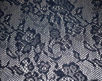 """faux lace printed satin Soft woven textile medium-light weight by the yard 50"""" wide navy silver"""