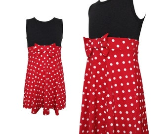 Adult child women teen girl mom and daughter matching Minnie mouse Halloween costume inspired  dress